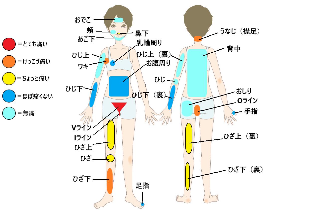 女性全身脱毛の痛さ比較表