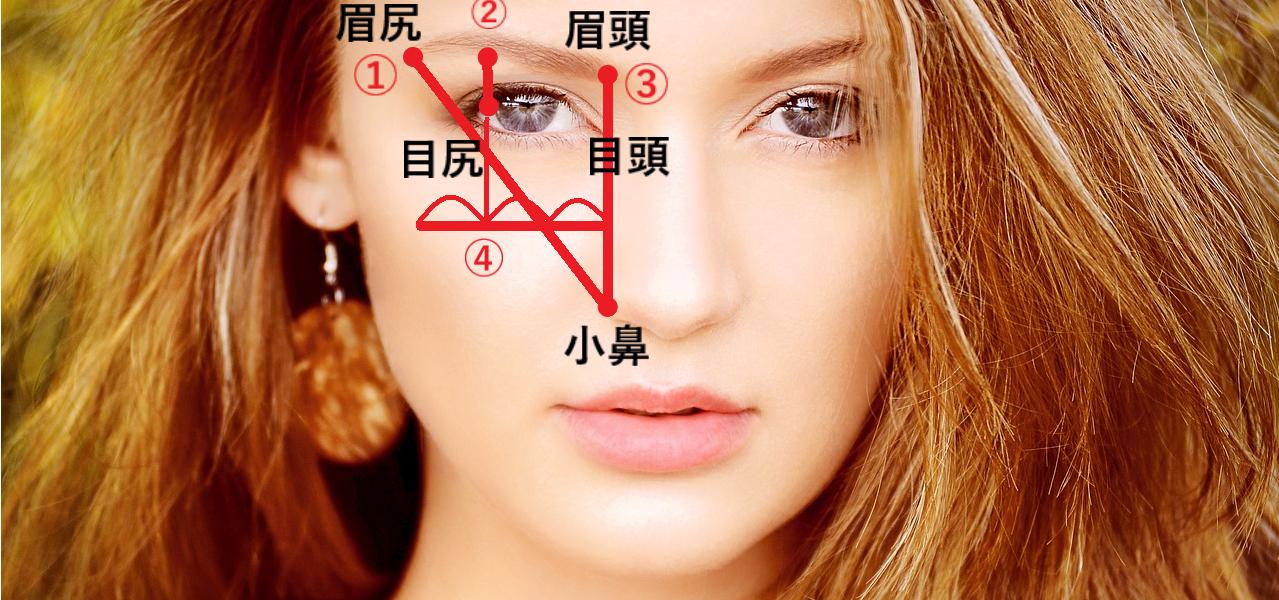 女性の眉毛の黄金比率を現した画像