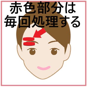 赤色部分は眉毛のいらない部分であることを示した画像