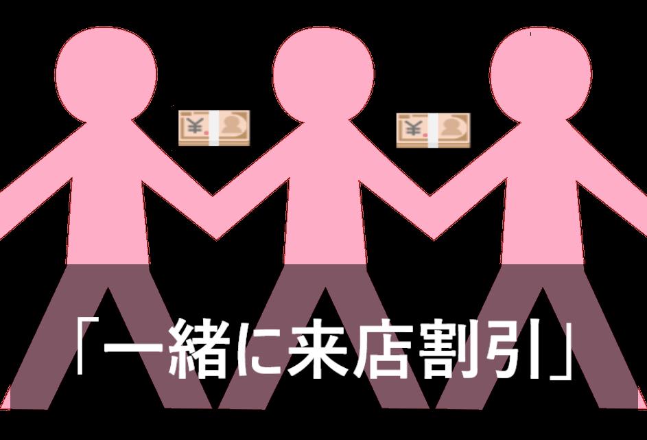 手をつないでいる女性同士の間にお金がある画像に「一緒に来店割引」と書かれた画像