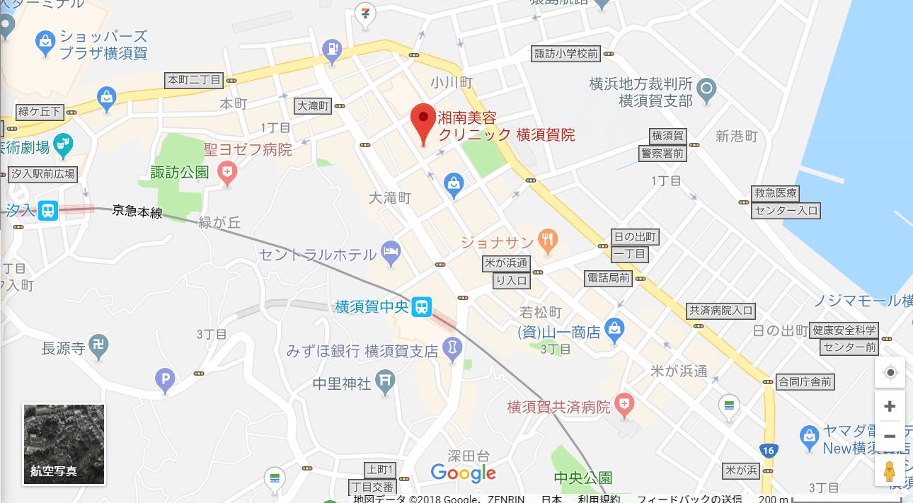 湘南美容クリニック横須賀院の地図を表した画像