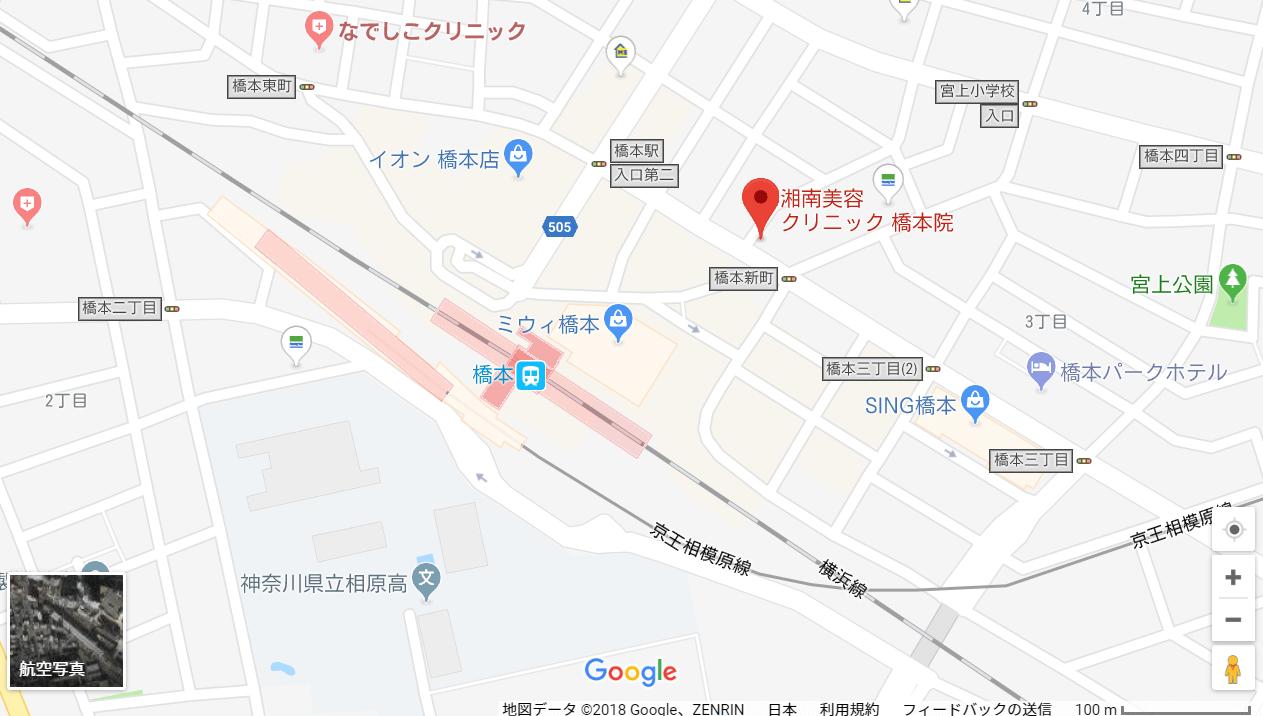 湘南美容クリニック橋本院の地図を表した画像