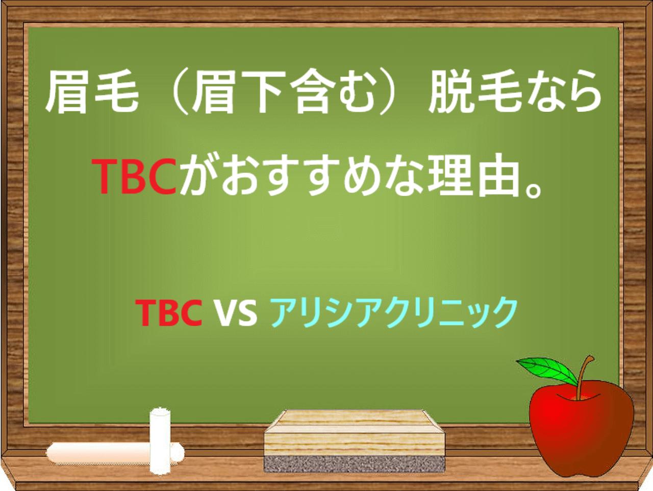 眉毛(眉下含む)脱毛ならTBCがおすすめな理由。TBC VS アリシアクリニックと黒板に書かれた画像