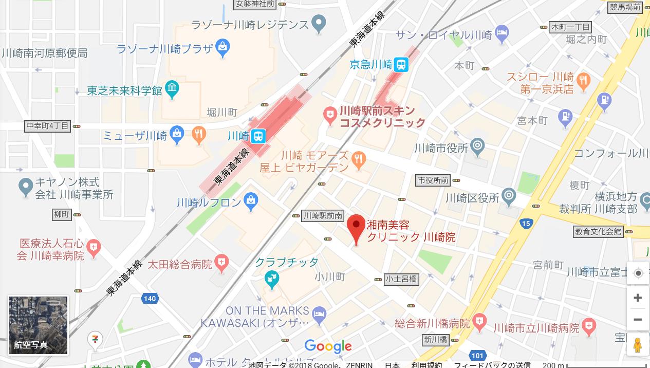 湘南美容クリニック川崎院の地図を表した画像
