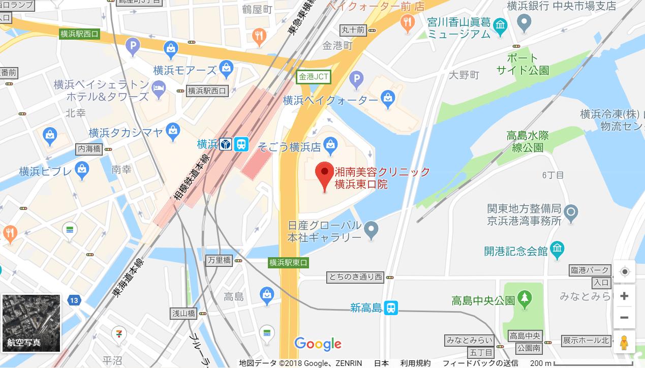 湘南美容クリニック横浜東口院の地図を表した画像