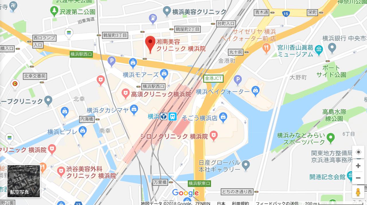 湘南美容クリニック横浜院の地図を表した画像