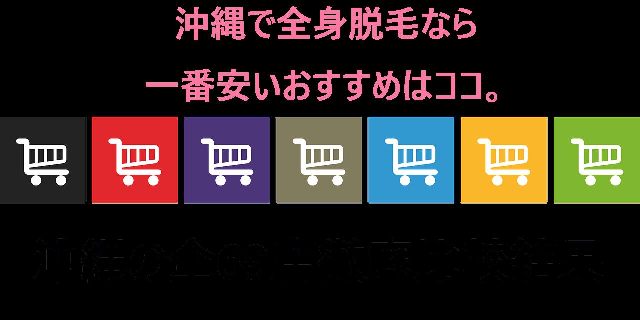 沖縄で全身脱毛なら一番安いおすすめはココ。沖縄の全69店徹底比較結果とショッピングカートがたくさん並ぶ画像に書かれている画像