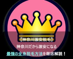 【神奈川激安脱毛】神奈川だから激安になる最強の全身脱毛方法を徹底解説!と王冠に書いてある画像
