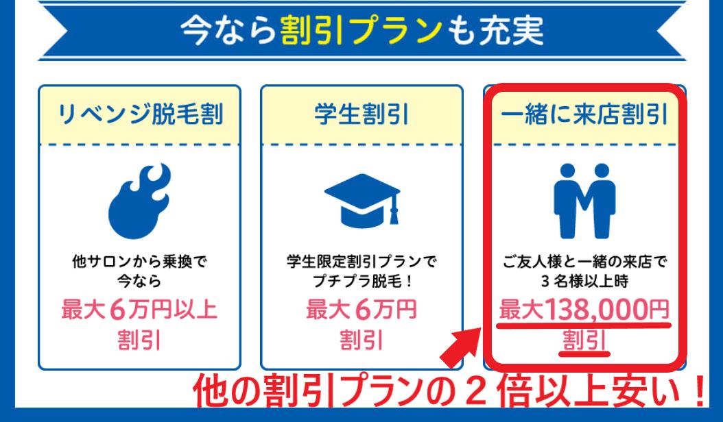 ストラッシュの一緒に来店割引は他の割引プランの2倍以上安いことを証明した画像