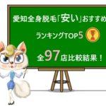 愛知全身脱毛「安い」おすすめランキングTOP5|全97脱毛店比較!