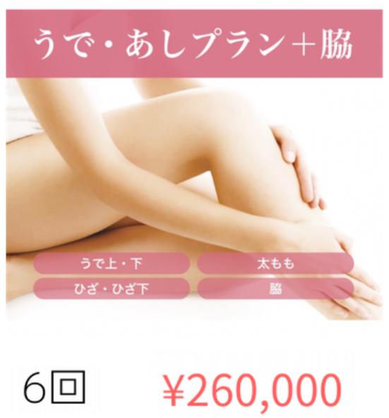 元寺町クリニックの脱毛料金表(うであし+ワキ)